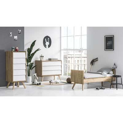 Chambre complète lit évolutif 70x140 - commode à langer - chiffonnier Vox Vintage - Bois Blanc