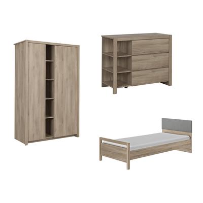 Chambre complète lit junior 90x190 - commode 3 tiroirs - armoire 2 portes Gami Ethan - Bois