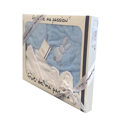 Coffret Sortie de bain bleu - Motif Lapin