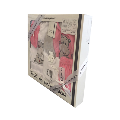 Coffret Ensemble bébé 7 pièces 3 à 6 Mois blanc et rose foncé - Motif Hello
