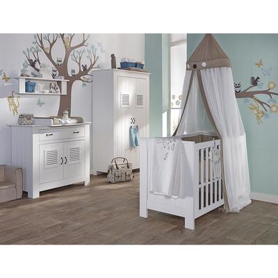 Chambre complète lit bébé 60x120 - commode à langer - armoire 2 portes Twf Madeira - Blanc