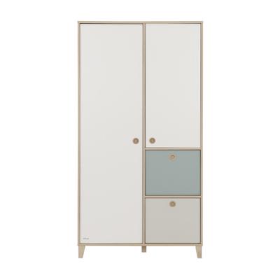 Armoire 2 portes Galipette Lora - Blanc Gris