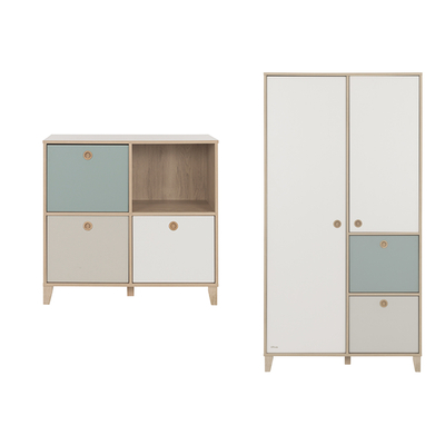 Commode 4 niches et Armoire 2 portes Galipette Lora - Blanc Gris