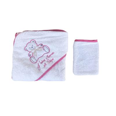 Parure de bain pour bébé blanc et rose foncé - Motif Nounours j'aime maman et papa