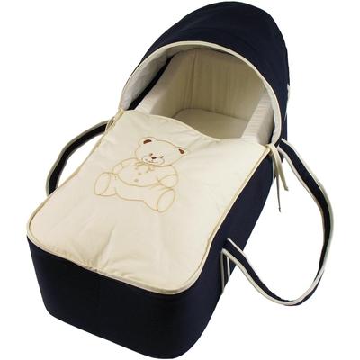 Couffin pour bébé bleu nuit et beige - Motif Nounours