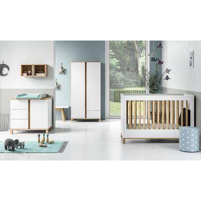 Chambre complète lit évolutif 70x140 - commode à langer - armoire 2 portes Vox Altitude - Blanc