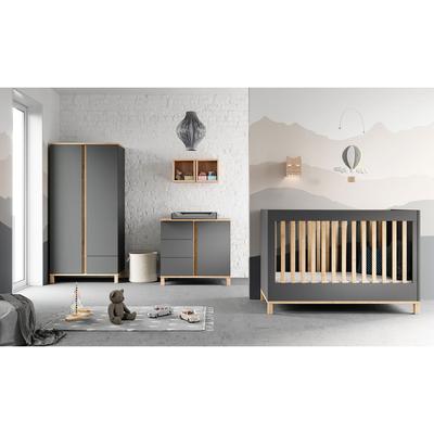 Chambre complète lit évolutif 70x140 - commode à langer - armoire 2 portes Vox Altitude - Gris