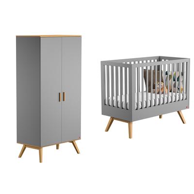 Lit bébé 60x120 et Armoire 2 portes Vox Nautis - Gris