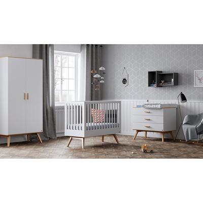 Chambre complète lit bébé 60x120 - commode à langer - armoire 2 portes Vox Nautis - Blanc