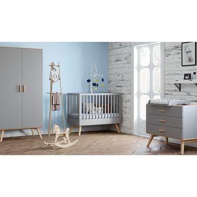 Chambre complète lit bébé 60x120 - commode à langer - armoire 2 portes Vox Nautis - Gris