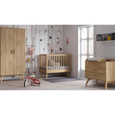 Chambre complète lit bébé 60x120 - commode à langer - armoire 2 portes Vox Nautis - Bois