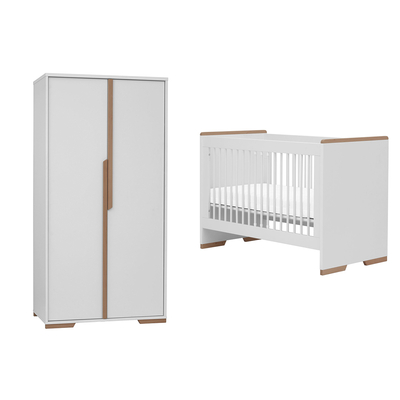 Lit bébé 60x120 et armoire 2 portes Pinio Snap - Blanc et bois