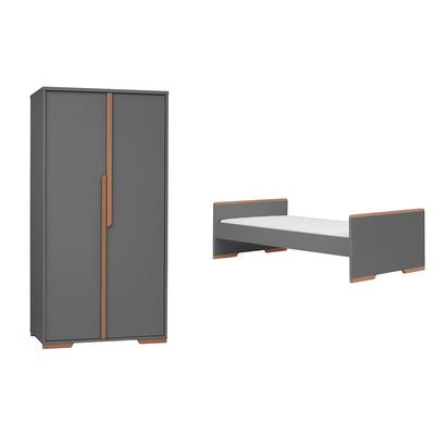 Lit évolutif 70x140 et armoire 2 portes Pinio Snap - Gris et bois