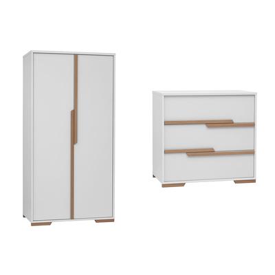 Commode à langer et armoire 2 portes Pinio Snap - Blanc et bois