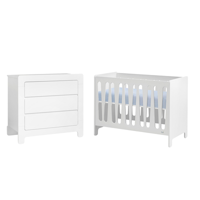 Lit bébé 60x120 et Commode à langer Pinio Moon - Blanc