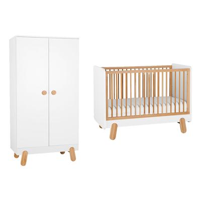Lit bébé 60x120 et Armoire 2 portes Pinio Iga - Blanc et bois