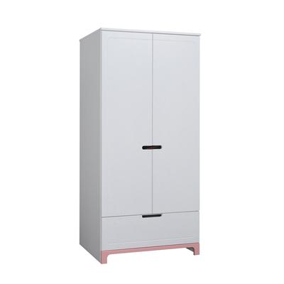 Armoire 2 portes Pinio Mini - Blanc et rose