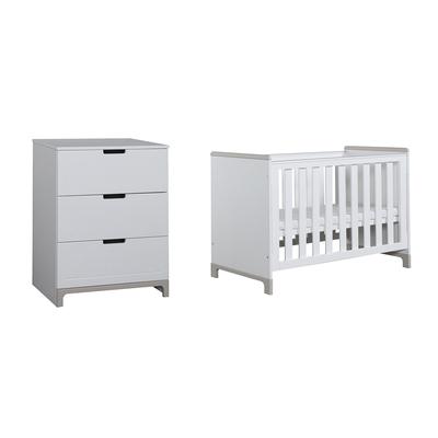 Lit bébé 60x120 et Commode 3 tiroirs Pinio Mini - Blanc et gris