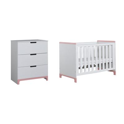 Lit bébé 60x120 et Commode 3 tiroirs Pinio Mini - Blanc et rose