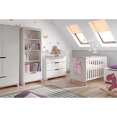 Chambre complète lit bébé 60x120 - commode 3 tiroirs - armoire 2 portes Pinio Mini - Blanc et rose