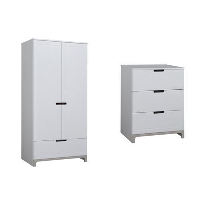 Commode 3 tiroirs et Armoire 2 portes Pinio Mini - Blanc et gris