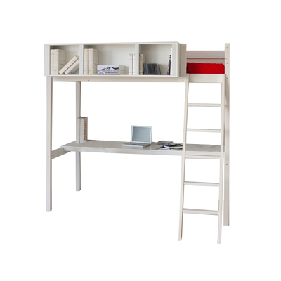 Lit mezzanine 90x190 - rangement - bureau - Weber Industries Lou - Blanchi