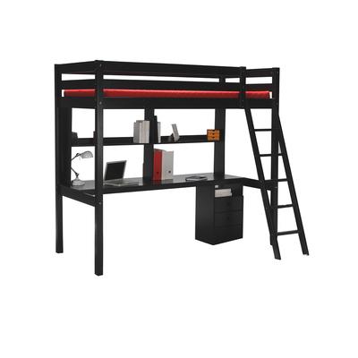 Lit mezzanine 90x190 - caisson - bureau - étagère - Weber Industries Studio - Noir