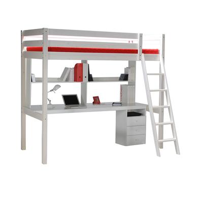Lit mezzanine 90x190 - caisson - bureau - étagère - Weber Industries Studio - Blanchi