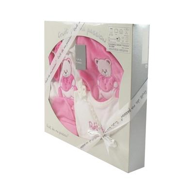 Coffret Ensemble bébé 7 pièces 3 à 6 Mois blanc et rose foncé - Motif Nounours
