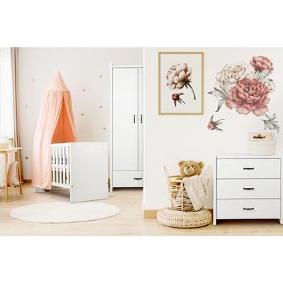 Chambre complète lit bébé 60x120 - commode - armoire 2 portes LittleSky by Klups Amelia White - Blanc