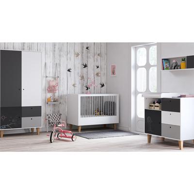 Chambre complète lit bébé 60x120 - commode à langer - armoire 2 portes Vox Concept - Noir
