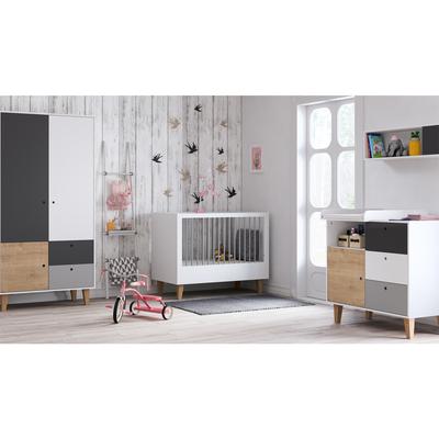 Chambre complète lit bébé 60x120 - commode à langer - armoire 2 portes Vox Concept - Bois
