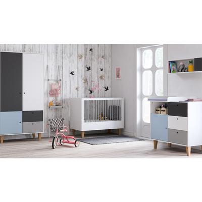 Chambre complète lit bébé 60x120 - commode à langer - armoire 2 portes Vox Concept - Bleu