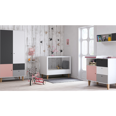 Chambre complète lit bébé 60x120 - commode à langer - armoire 2 portes Vox Concept - Rose