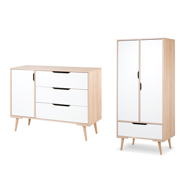 Commode à langer et armoire 2 portes LittleSky by Klups Sofie - Hêtre et Blanc