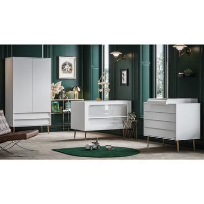 Chambre complète lit bébé 60x120 - commode à langer - armoire 2 portes Vox Bosque - Blanc
