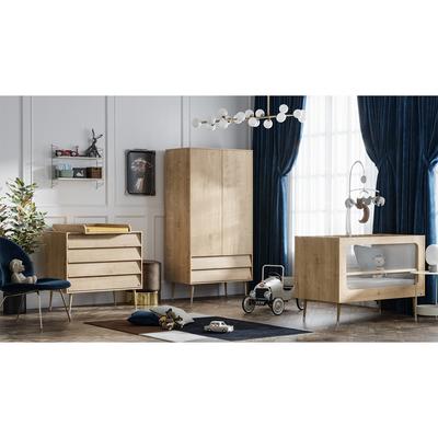 Chambre complète lit bébé 60x120 - commode à langer - armoire 2 portes Vox Bosque - Bois
