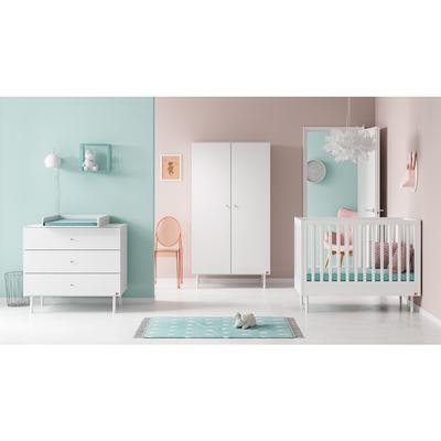 Chambre complète lit bébé 60x120 - commode à langer - armoire 2 portes Vox Cute - Blanc