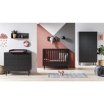 Chambre complète lit bébé 60x120 - commode à langer - armoire 2 portes Vox Cute - Gris