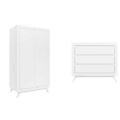 Commode à langer et armoire 2 portes Bopita Anne - Blanc
