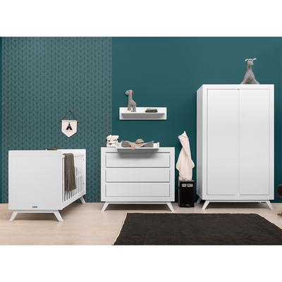 Chambre complète lit bébé 60x120 - commode à langer - armoire 2 portes Bopita Anne - Blanc
