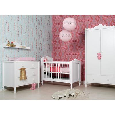 Chambre complète lit bébé 60x120 - commode à langer - armoire 2 portes Bopita Belle - Blanc