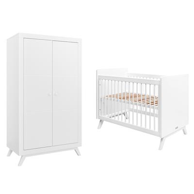 Lit bébé 60x120 et Armoire 2 portes Bopita Fiore - Blanc