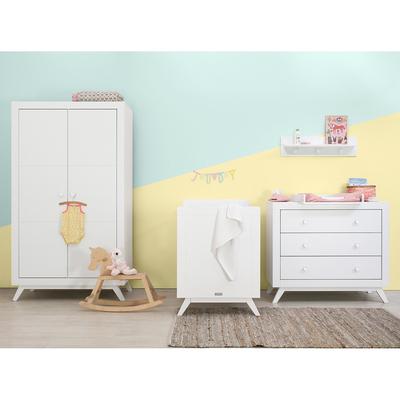 Chambre complète lit bébé 60x120 - commode à langer - armoire 2 portes Bopita Fiore - Blanc