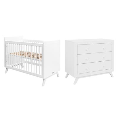 Lit bébé 60x120 et Commode 3 tiroirs Bopita Fiore - Blanc