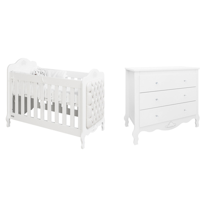 Lit bébé 60x120 et Commode 3 tiroirs Bopita Diva - Blanc