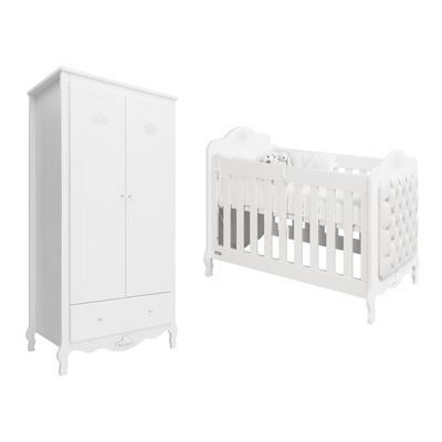 Lit bébé 60x120 et Armoire 2 portes Bopita Diva - Blanc