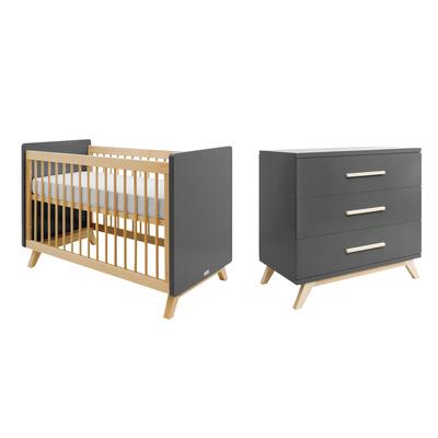 Lit bébé 60x120 et Commode 3 tiroirs Bopita Kyan - Gris et Bois