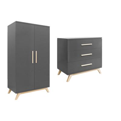 Commode 3 tiroirs et armoire 2 portes Bopita Kyan - Gris et Bois