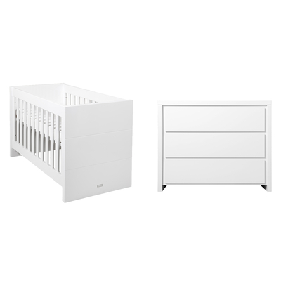 Lit bébé 60x120 et Commode 3 tiroirs Bopita Camille - Blanc